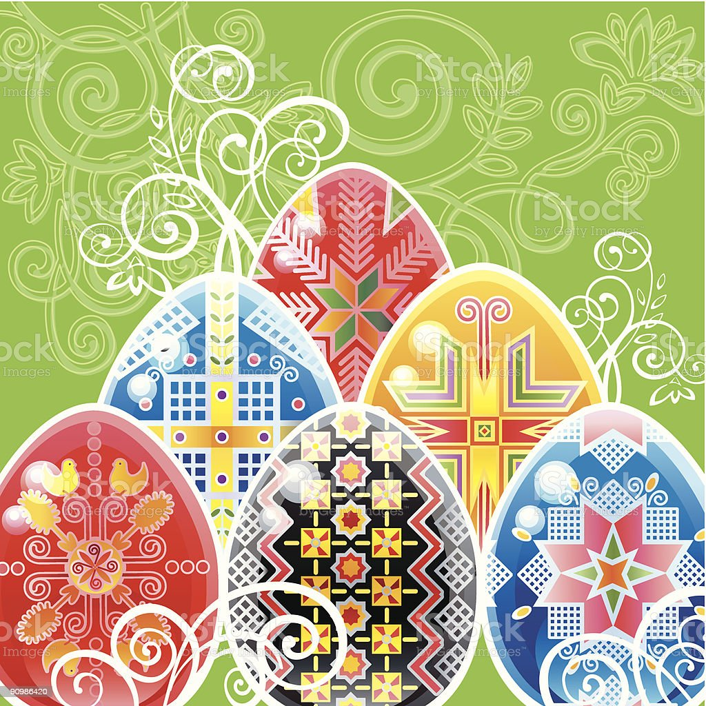 Ukrainian Traditional Easter eggs royalty-free stock vector art