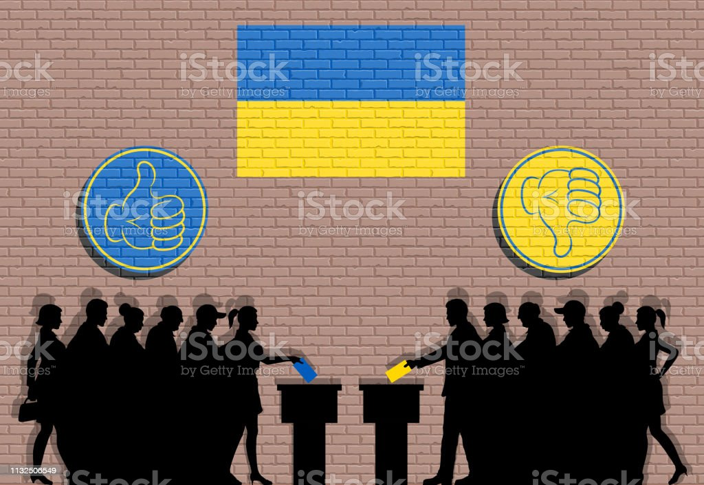 Ukrainian voters crowd silhouette in election with thumb icons and...