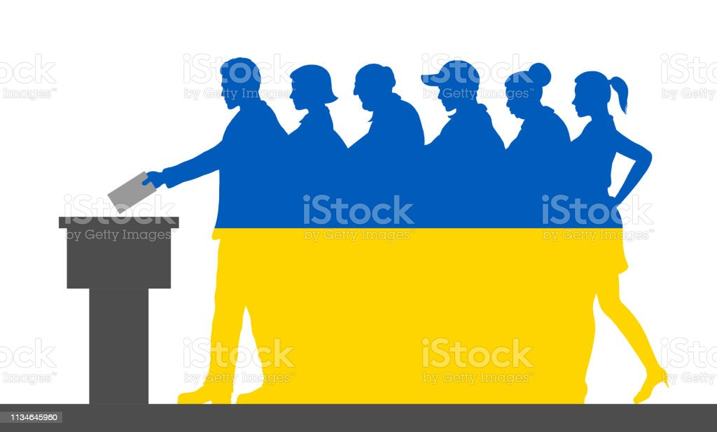 Ukrainian voters crowd silhouette like Ukraine flag by voting for...