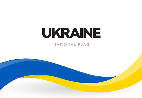 Ukrainian waving flag banner. Ukraine independence day official holiday poster. The 34th of August traditional annual celebration brochure. Revolution of dignity vector symbol. Isolated ribbon.