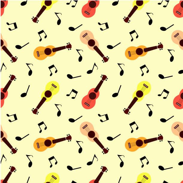 Ukulele and music notes Seamless pattern pastel ukulele and music notes lyric stock illustrations