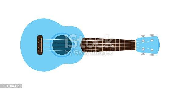istock ukulele cute blue pastel isolated on white, small ukelele blue soft color for flat icon, realistic ukelele for classical music play, ukulele classic retro style in holiday summer concept, small guitar 1217583144