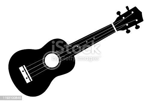 istock Ukulele isolate. Ukulele guitar silhouette. 1193100845