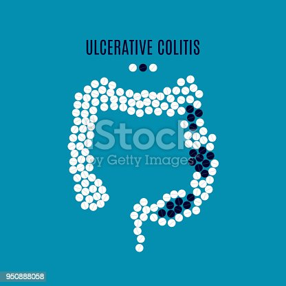 Ulcerative colitis awareness poster with intestine made of pills on blue background. Inflammatory bowel disorder. Medical solidarity concept. Human body organ disease. Vector illustration.