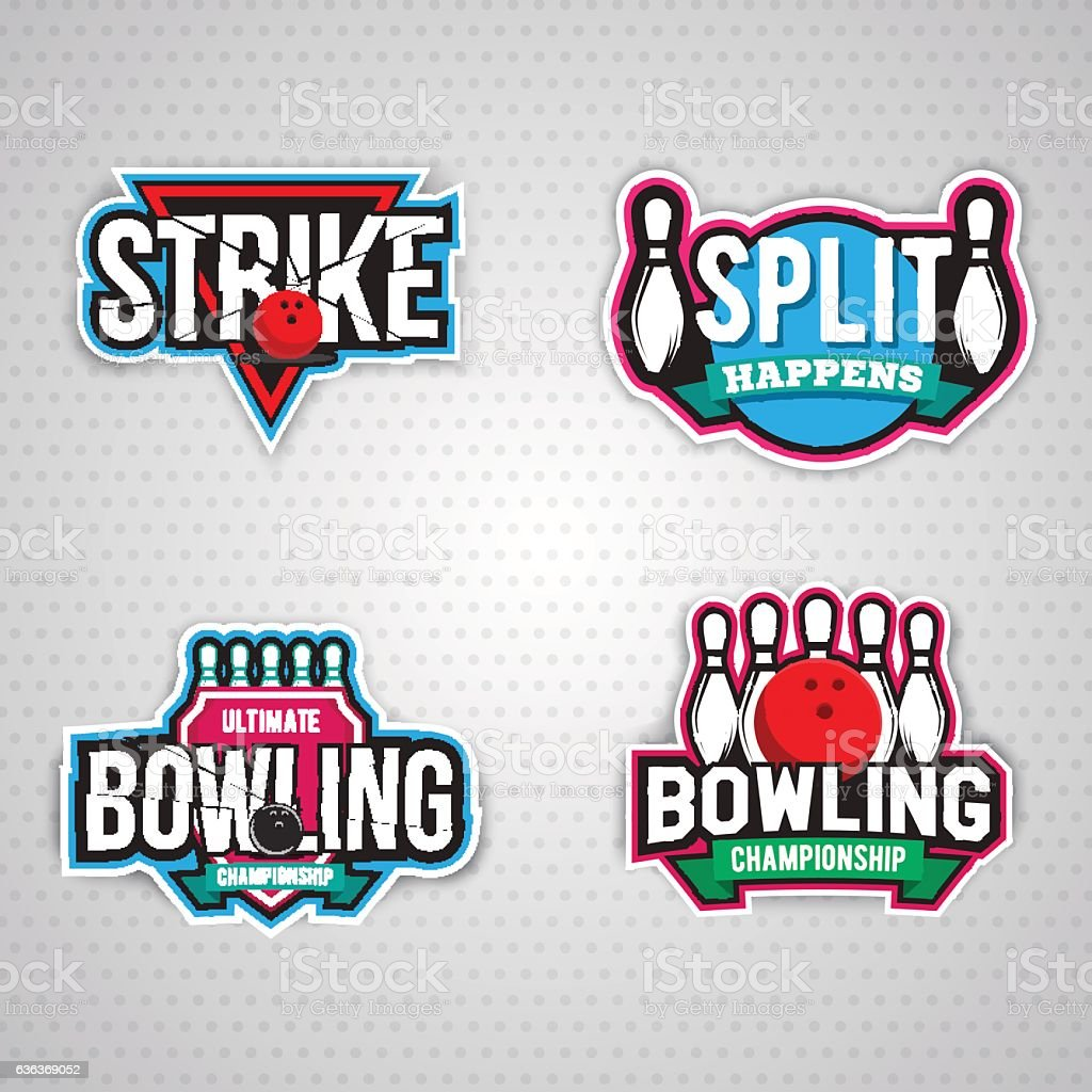 ultimate bowling chanpionship logo design vector art illustration