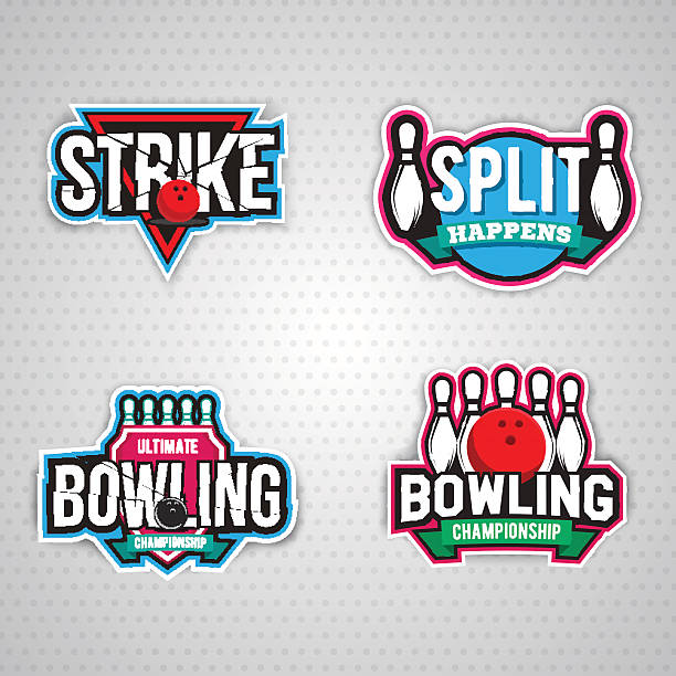 ultimate bowling chanpionship logo design vector art illustration