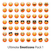 Vector illustration of a set of 56 realistic emojis