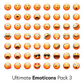 Vector illustration of a set of 56 realistic emoticons from a collection of more than 2000 thousand emoticons