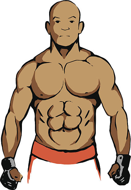 Ultimate fighter ready for the figt vector art illustration