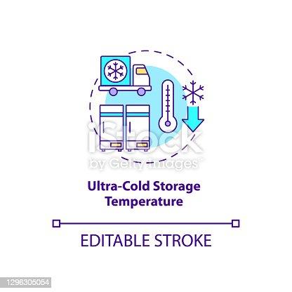 istock Ultra cold storage temperature concept icon 1296305054