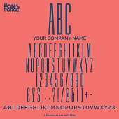 Ultra condensed style font corporate identity logo font design, alphabet letters and numbers. Vector stock illustration.