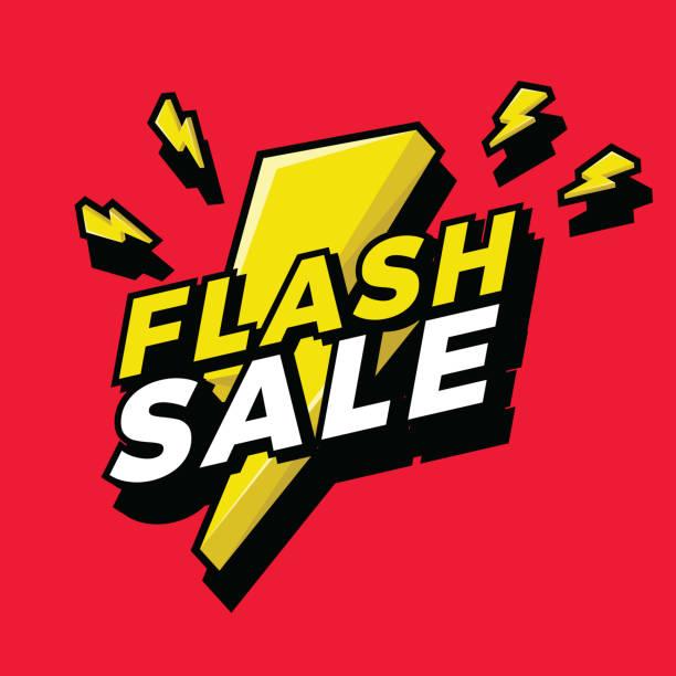 illustrations, cliparts, dessins animés et icônes de ultra dynamique vente flash 3d signe avec bright yellow éclair. - éclairage au flash