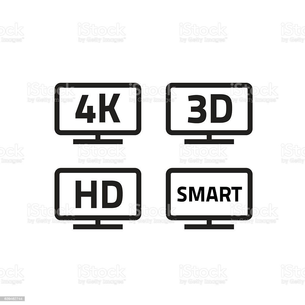 Ultra hd 4k smart tv format television icons, 3d video