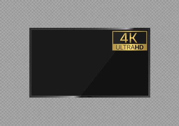 stockillustraties, clipart, cartoons en iconen met ultra hd 4k tv-scherm - hdri landscape