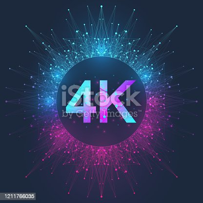 istock 4K Ultra HD badge vector icon. Abstract gradient background style 4K UHD TV symbol 1211766035