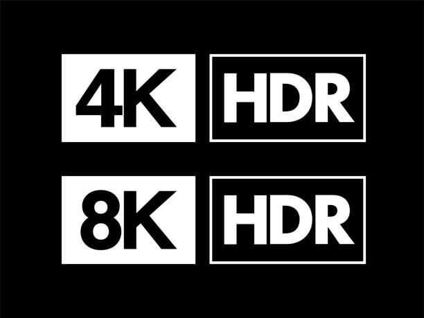 stockillustraties, clipart, cartoons en iconen met ultra hd / hdr, 8k en 4k teken set - hdri landscape