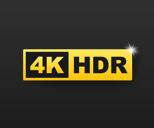stockillustraties, clipart, cartoons en iconen met 4k ultra hd-symbool, high definition 4k resolutie merk, hdr. vector voorraad illustratie. - hdri landscape