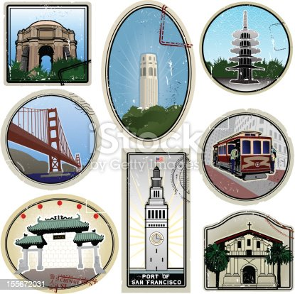 Ultra stylized San Francisco retro suitcase style travel stickers with stamp overlay and additional distress