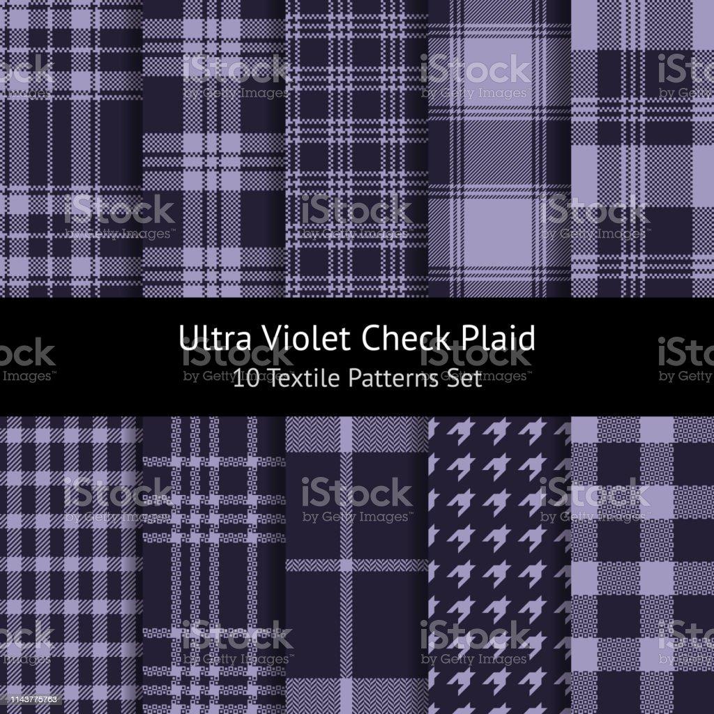 Ultra violet check plaid pattern set. Weave, pixel, herringbone,...