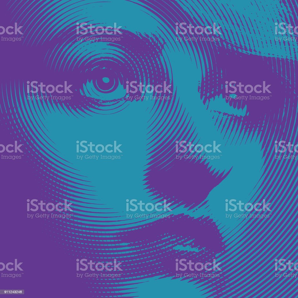 Ultra violet close up engraving of a young woman's face royalty-free ultra violet close up engraving of a young womans face stock vector art & more images of eye