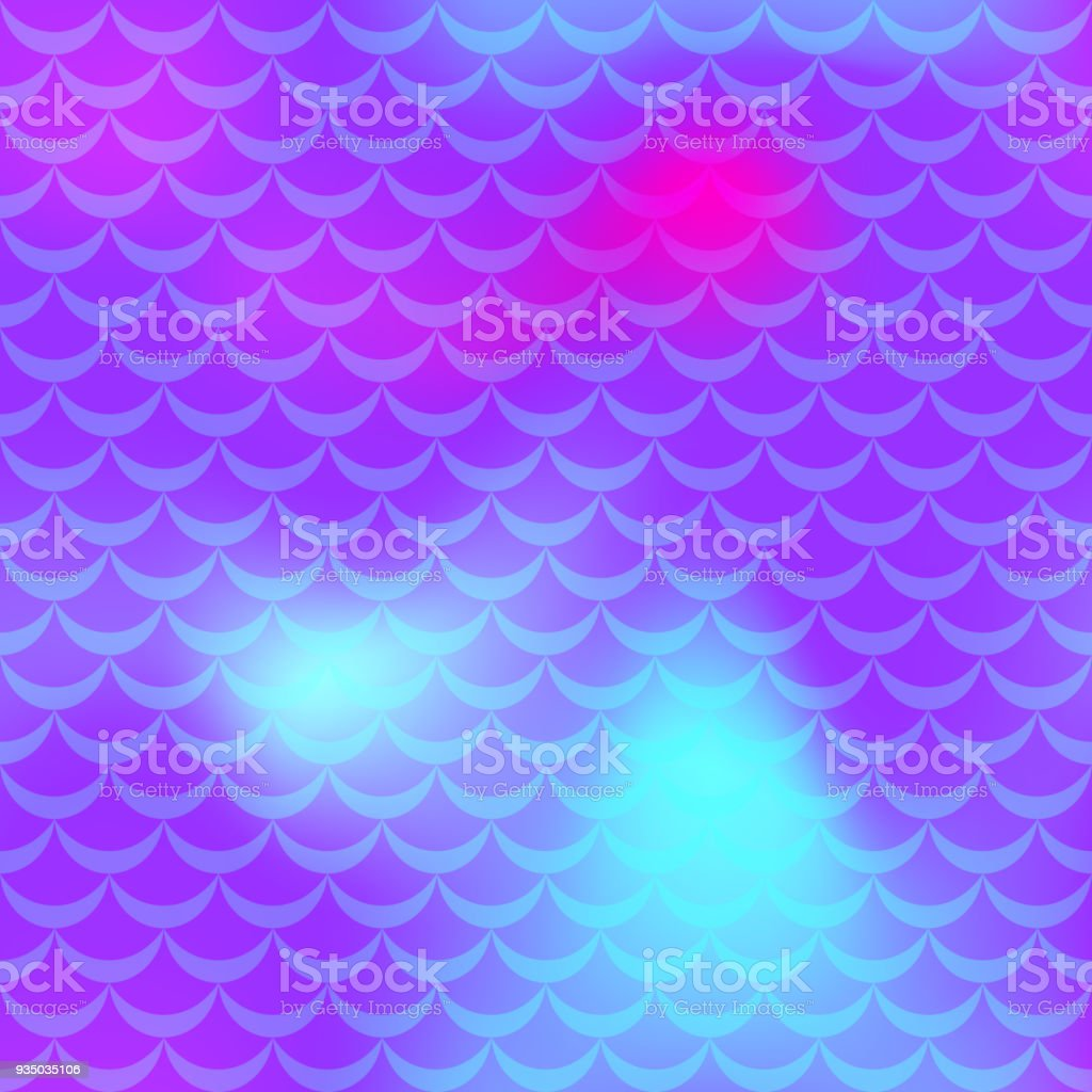 Ultra violet cyan mermaid scale vector background. Neon iridescent background. Fish scale pattern. vector art illustration