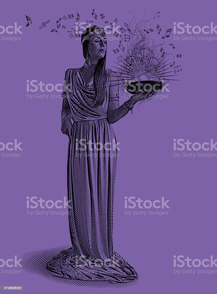 Ultra violet engraving of a beautiful female musician composing music vector art illustration