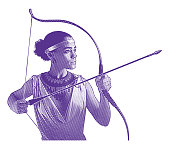 Ultra violet engraving of a Mixed race woman heroine aiming bow and arrow.