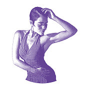 Ultra violet engraving of a mixed race Woman Salsa Dancing