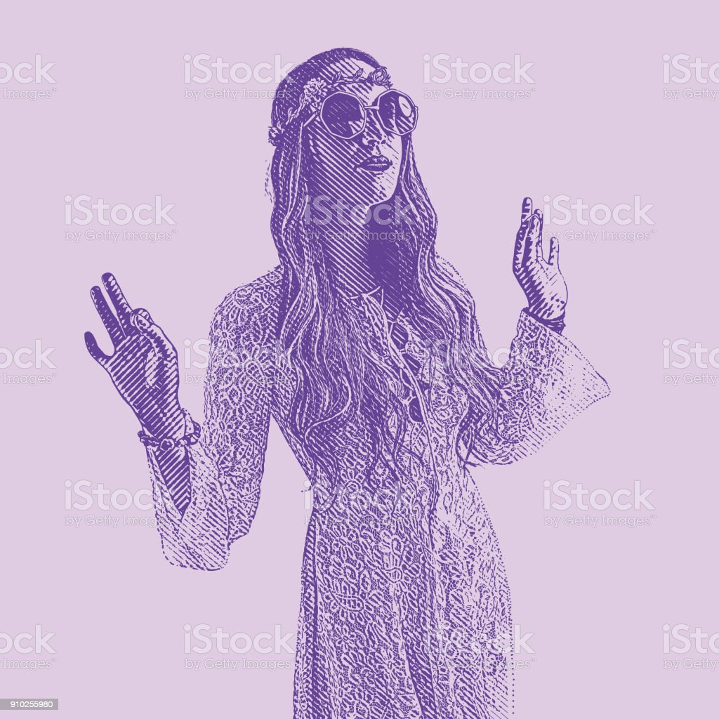 Ultra Violet engraving of a young Hippie woman wearing 1960's vintage fashion vector art illustration