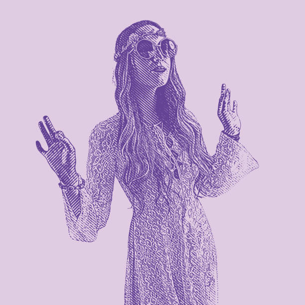 ultra violet engraving of a young hippie woman wearing 1960's vintage fashion - hippie fashion stock illustrations, clip art, cartoons, & icons