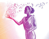 Ultra violet engraving of mixed race female musician composing music