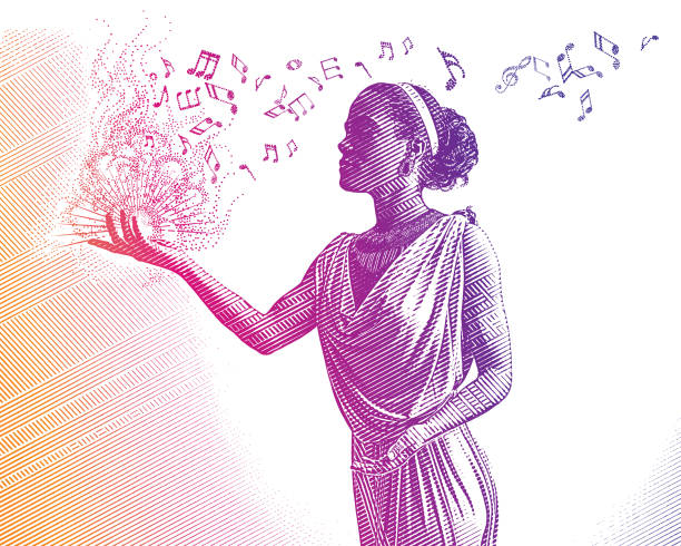 Ultra violet engraving of mixed race female musician composing music vector art illustration