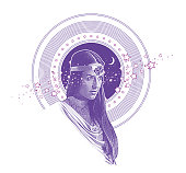 Ultra Violet Engraving vector of Native American Goddess framed with stars, space and moon