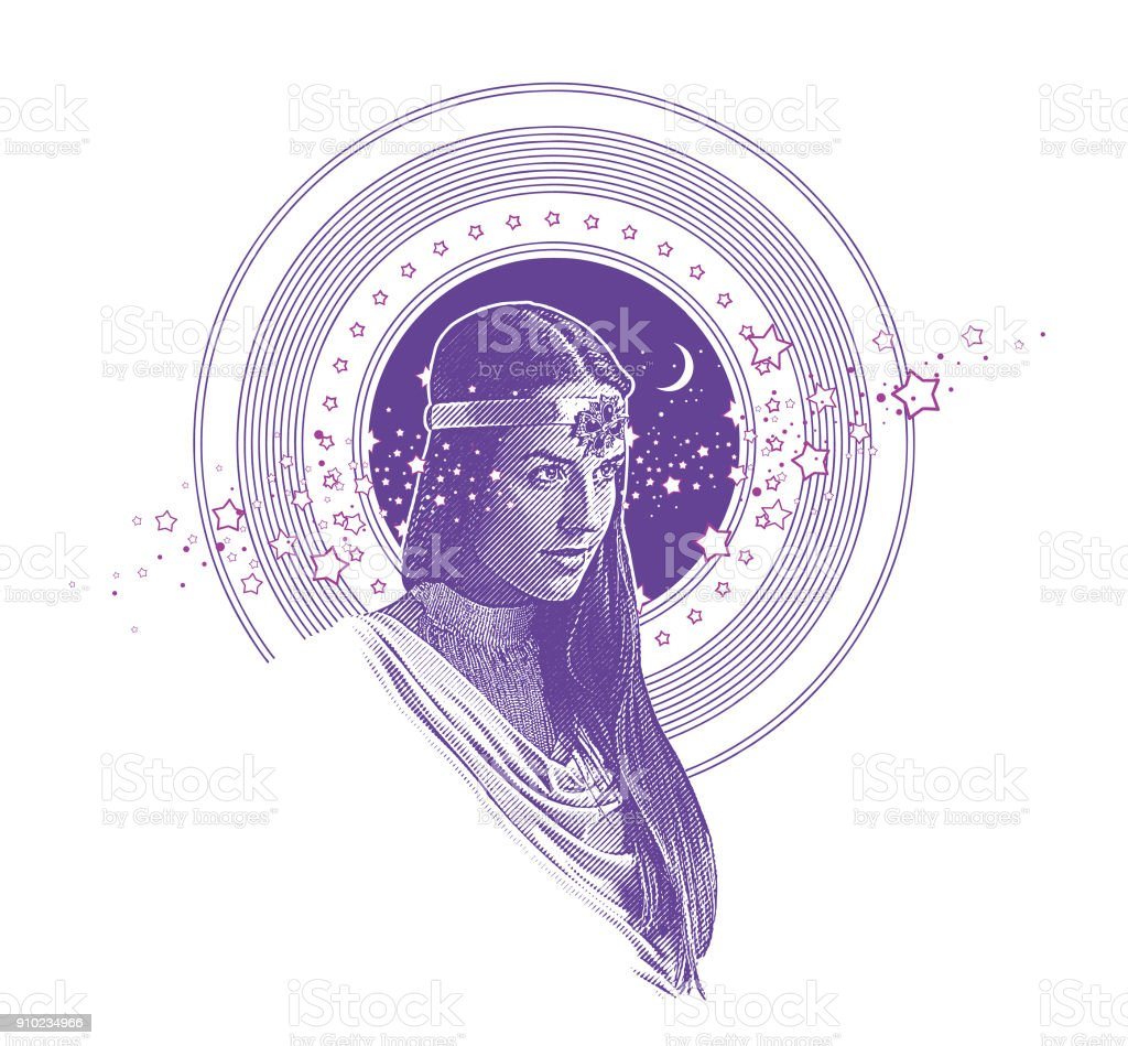 Ultra Violet Engraving vector of Native American Goddess framed with stars, space and moon vector art illustration