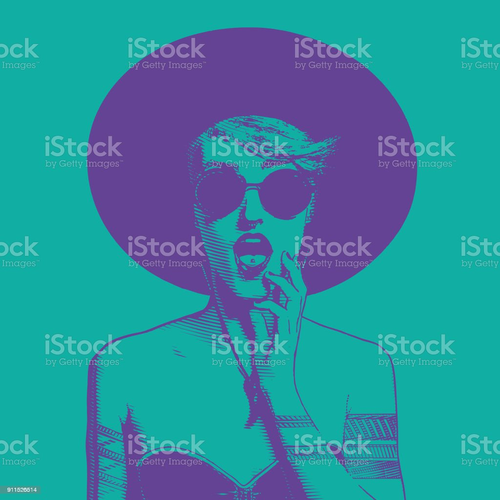 Ultra violet line art illustration of a fashionable young woman with a surprised expression vector art illustration