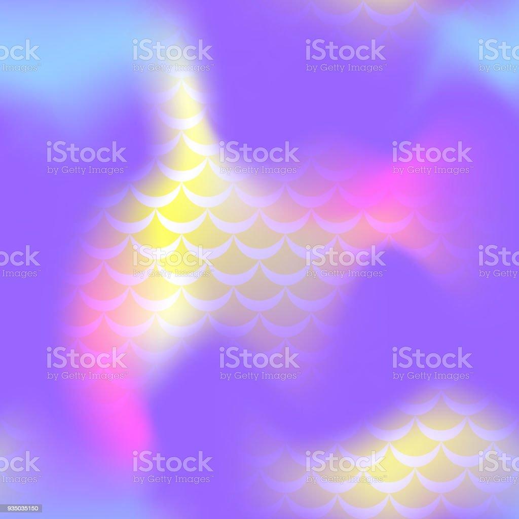 Ultra violet mermaid skin vector seamless pattern. Cosmic iridescent background. vector art illustration