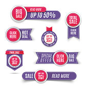 Ultra violet promotion badge icons, retail sign collection, best price business poster. Set of ultra violet banner elements, vector offer tag collection, discount label design, sale web coupons.