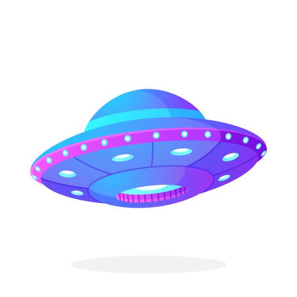 stockillustraties, clipart, cartoons en iconen met ultra violet ufo space ship in vlakke stijl - ufo