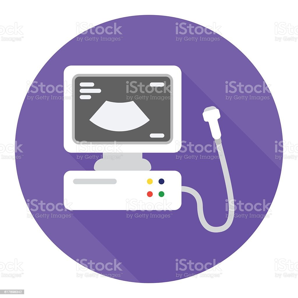 Ultrasound diagnostic icon in flat style isolated on white background. vector art illustration