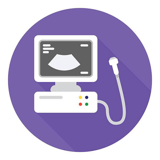 Ultrasound diagnostic icon in flat style isolated on white background. - illustrazione arte vettoriale