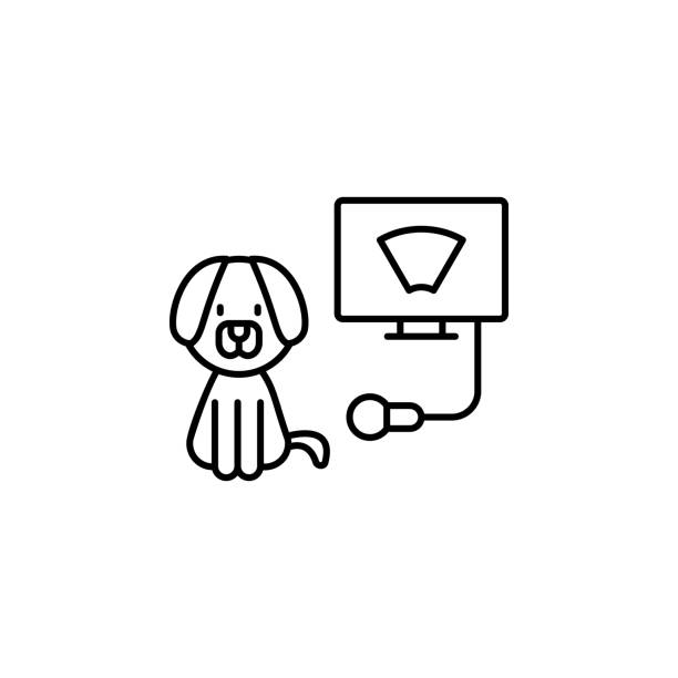 초음파, 개, 수의학 아이콘. ui 및 ux, 웹 사이트에 대한 간단한 얇은 선, petshop 아이콘의 개요 벡터 - 강아지 실루엣 stock illustrations