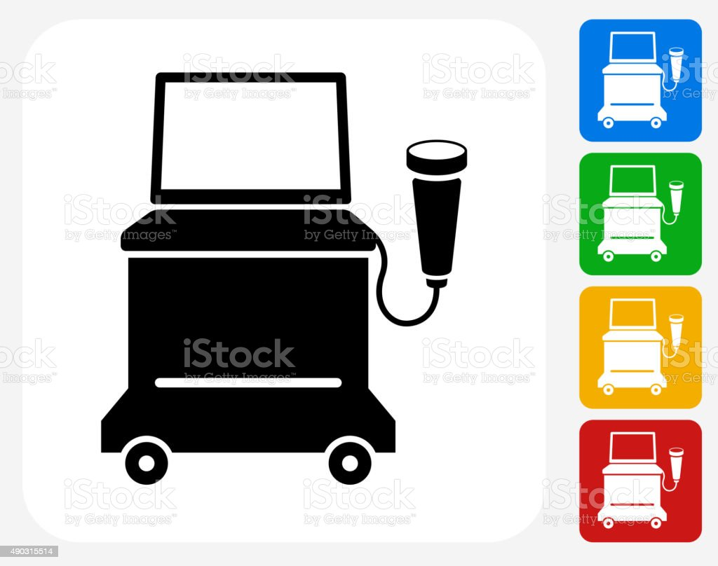Ultrasound Machine Icon Flat Graphic Design vector art illustration