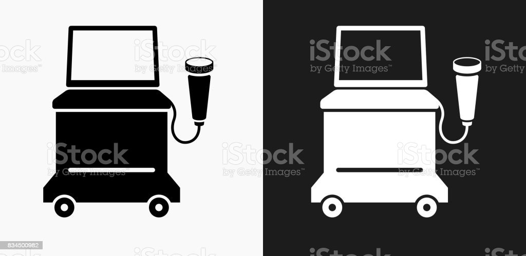 Ultrasound Machine Icon on Black and White Vector Backgrounds vector art illustration