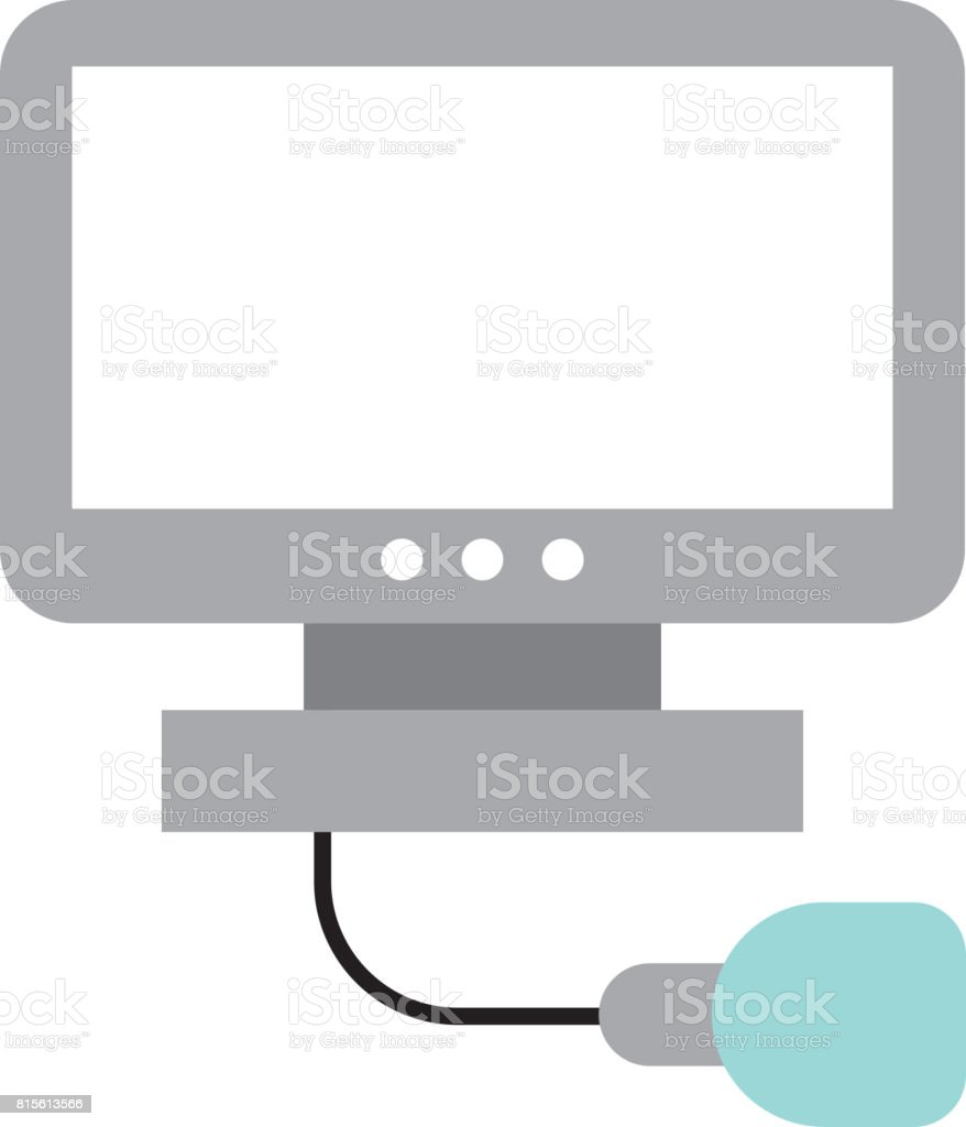 Ultrasound monitor isolated icon vector art illustration