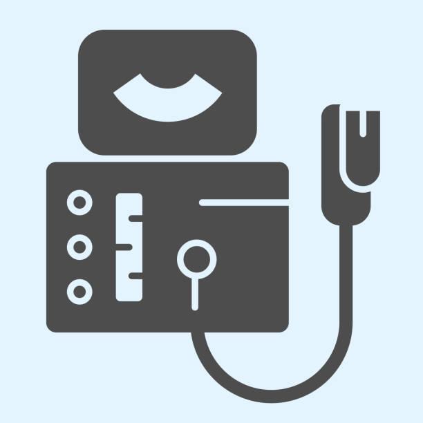 超聲治療固體圖示。鐳射理療設備,醫療技術。保健載體設計理念,白色背景的字形象形圖,用於網頁和應用。 - 健康科技 幅插畫檔、美工圖案、卡通及圖標