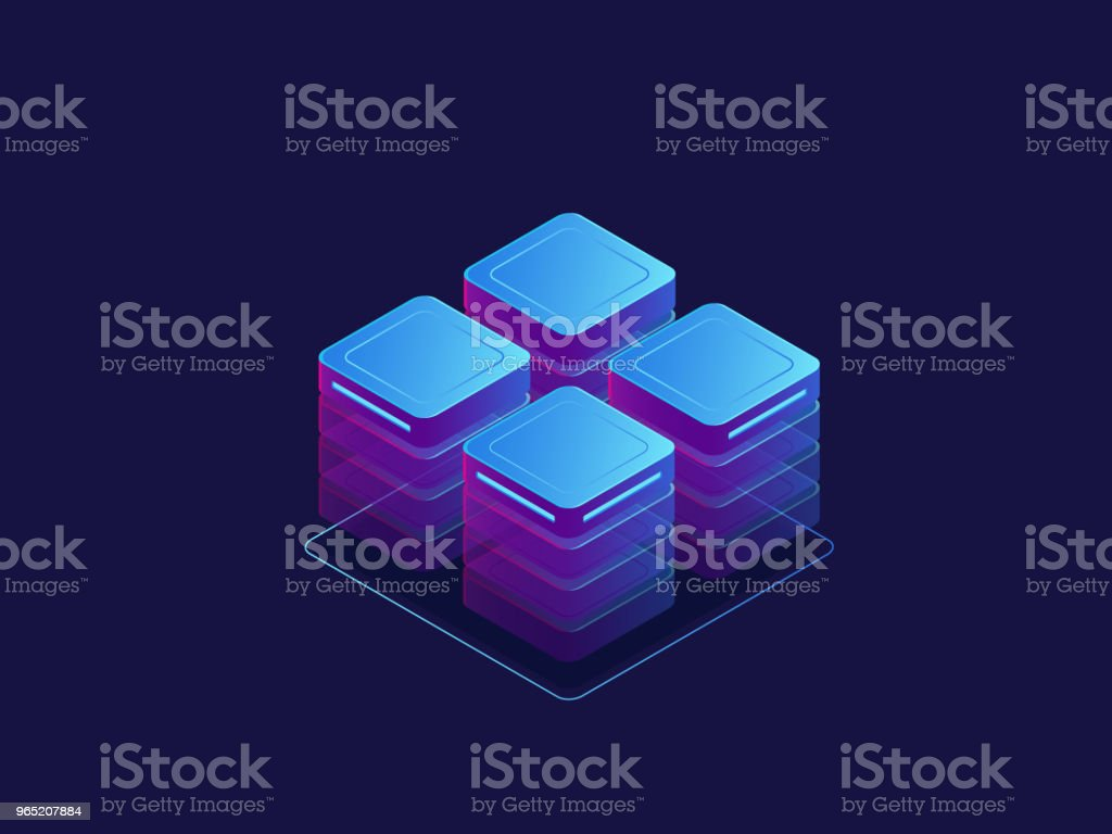 Ultraviolet banner, server room, abstract technology objects, cloud storage, data center isometric vector royalty-free ultraviolet banner server room abstract technology objects cloud storage data center isometric vector stock vector art & more images of abstract