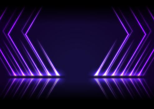 Ultraviolet neon laser lines technology modern background