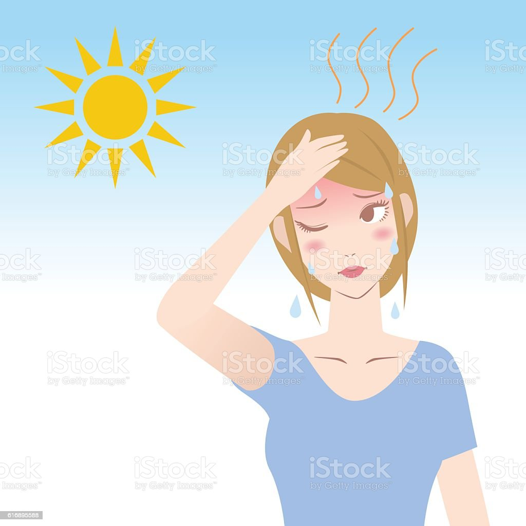 ultraviolet rays from the sun, human heatstroke vector art illustration