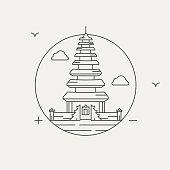 ulun danau temple bali, indonesia vector illustration