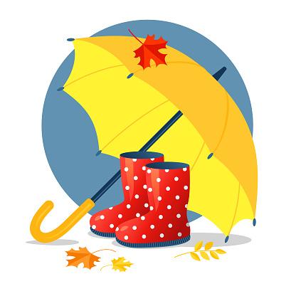 Umbrella and boots
